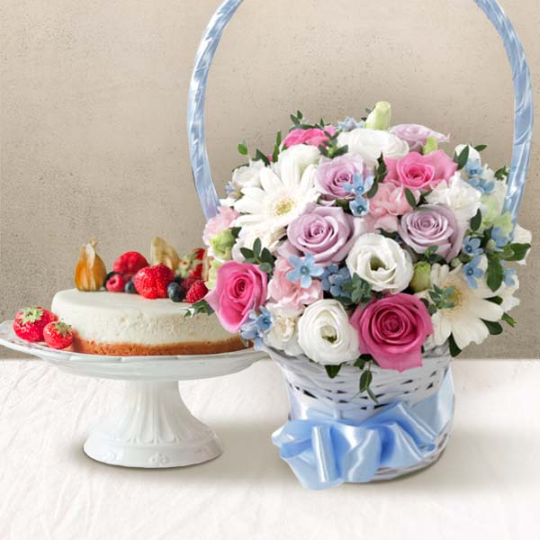 Flower Baskets+Cake (Delivery) img