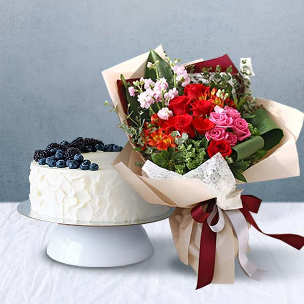 Flower Bouquets+Cake (Delivery) img